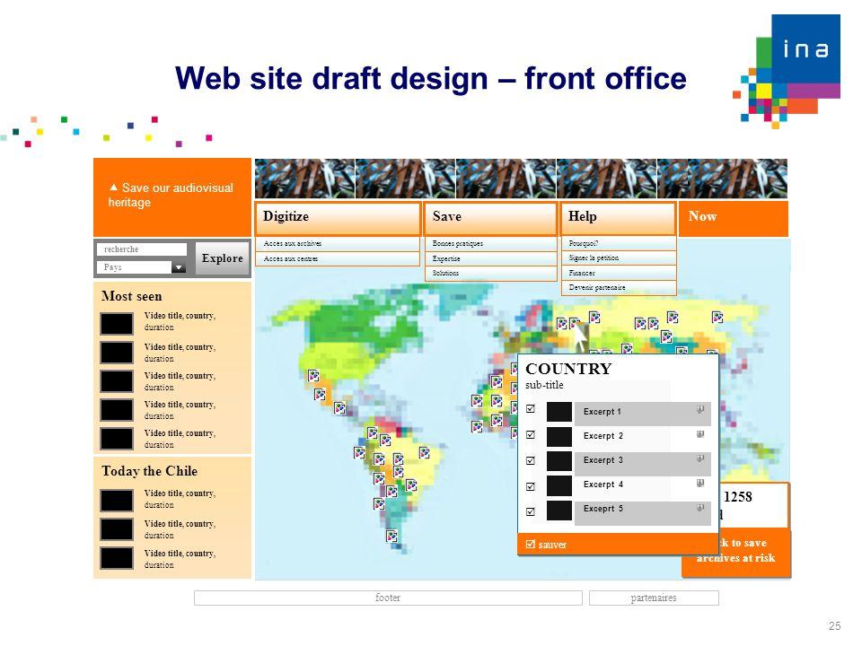 25 Web site draft design – front office Now SaveDigitize Accès aux archives Help footer Accès aux centres recherche  Save our audiovisual heritage Bo