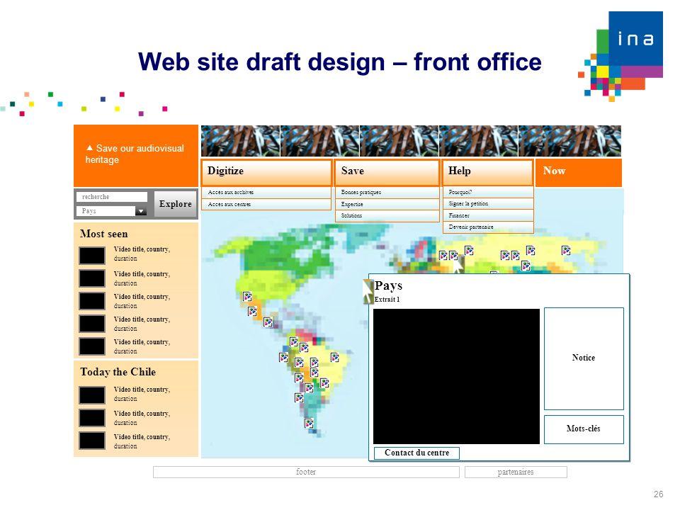 26 Web site draft design – front office Now SaveDigitize Accès aux archives Help footer Accès aux centres recherche  Save our audiovisual heritage Bo