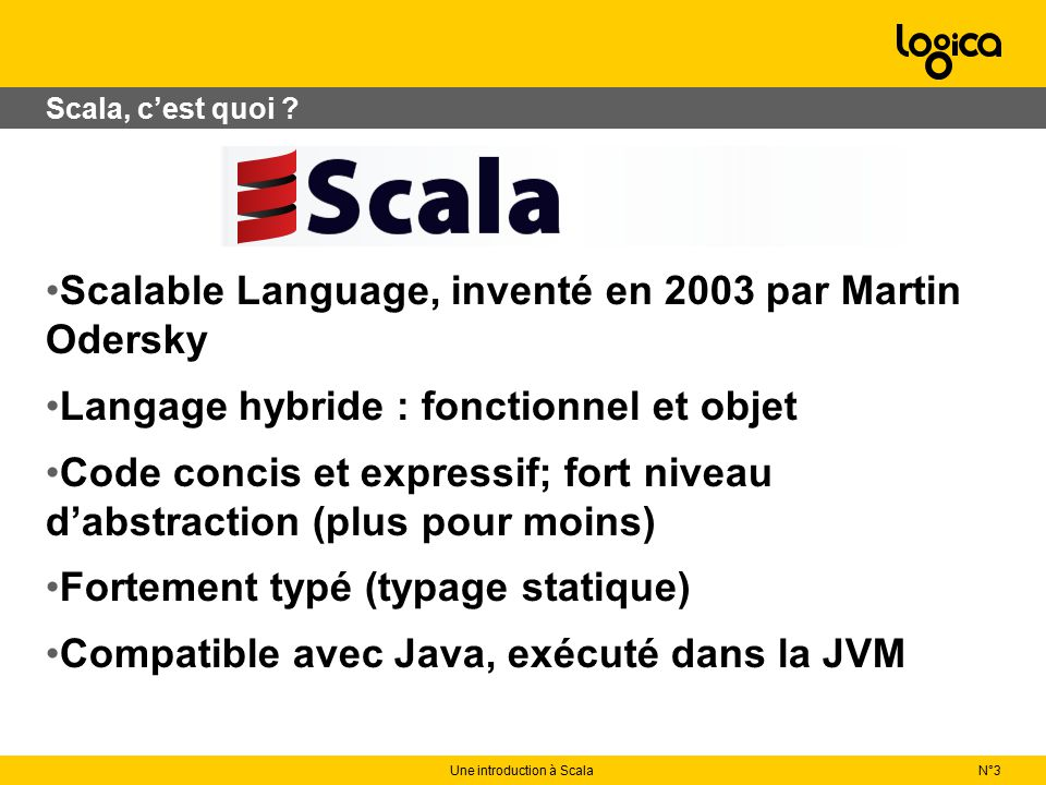 Programmation fonctionnelle N°3Une introduction à Scala import java.io._ def write(file : String)(code : PrintWriter => Unit) { val writer=new PrintWriter(file) try { code(writer) } catch { case e : IOException => println(e.getMessage) } finally { writer.close } } write( toto.txt ){pw => pw.write( hello )}