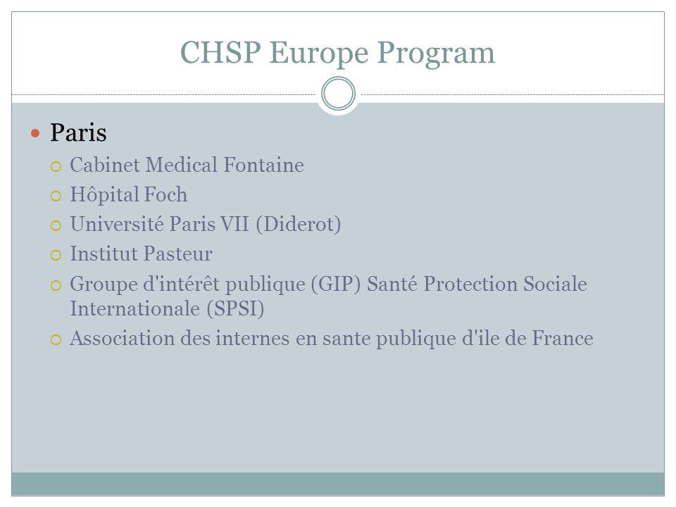 CHSP Europe Program Paris  Cabinet Medical Fontaine  Hôpital Foch  Université Paris VII (Diderot)  Institut Pasteur  Groupe d intérêt publique (GIP) Santé Protection Sociale Internationale (SPSI)  Association des internes en sante publique d ile de France