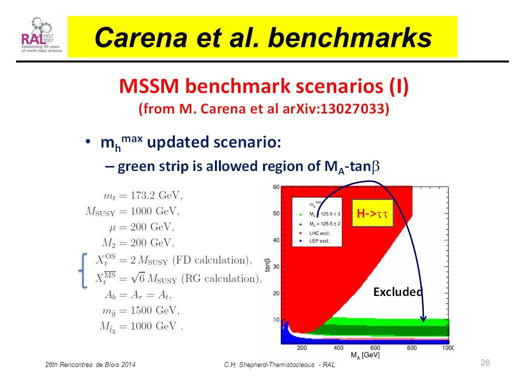 26 Carena et al. benchmarks 26th Rencontres de Blois 2014 C.H. Shepherd-Themistocleous - RAL