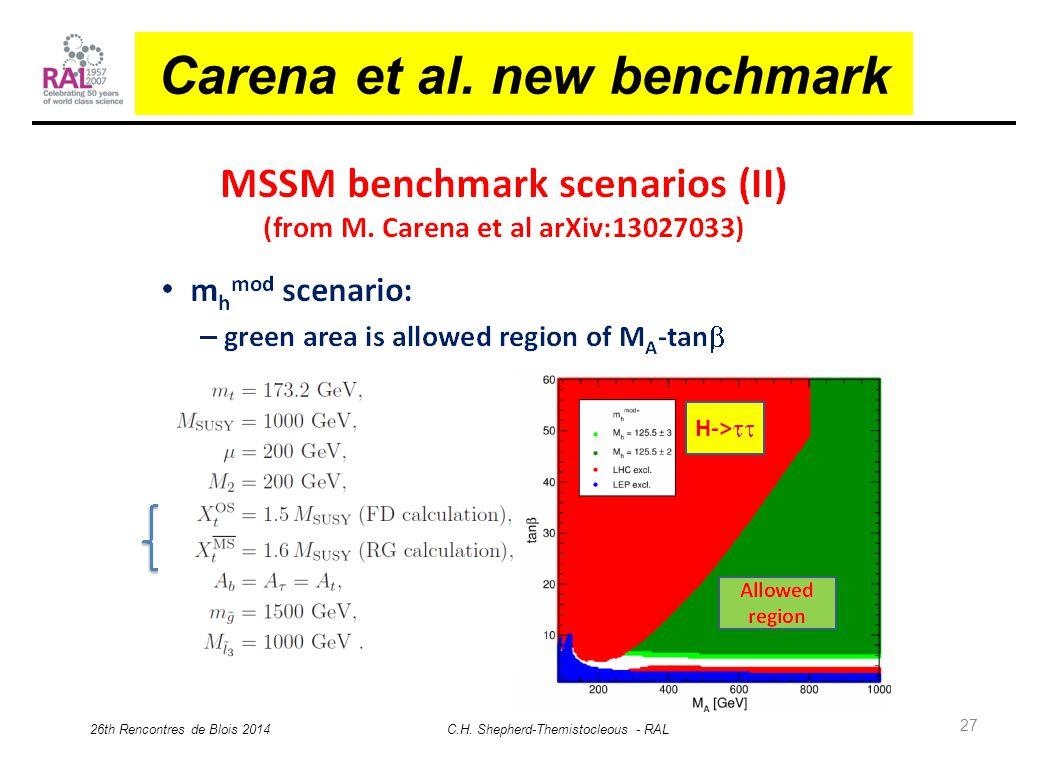 27 Carena et al. new benchmark 26th Rencontres de Blois 2014 C.H. Shepherd-Themistocleous - RAL