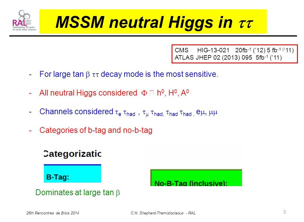 3 MSSM neutral Higgs in  26th Rencontres de Blois 2014 C.H.