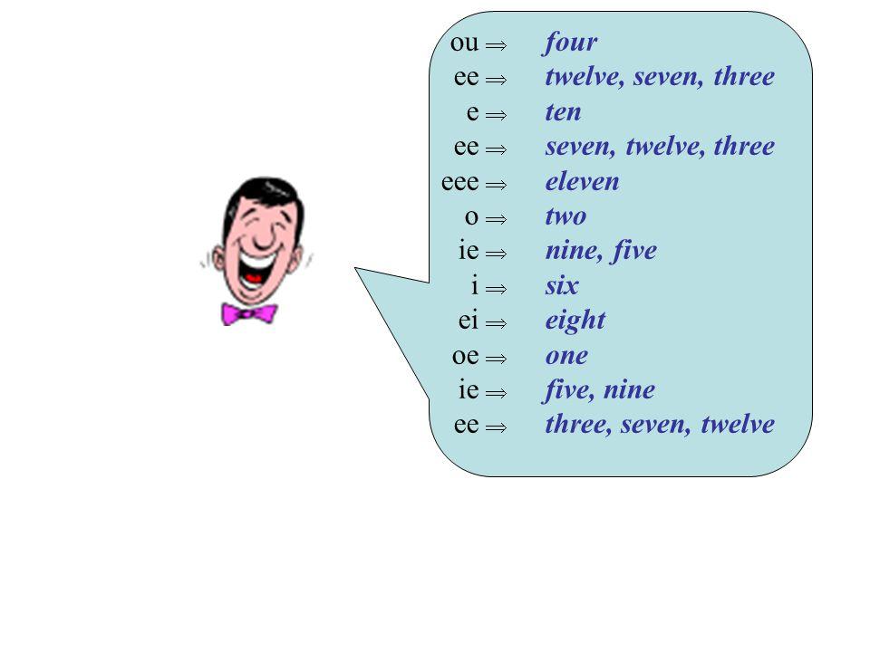 ou  ee  e  ee  eee  o  ie  i  ei  oe  ie  ee  four twelve, seven, three ten seven, twelve, three eleven two nine, five six eight one five,