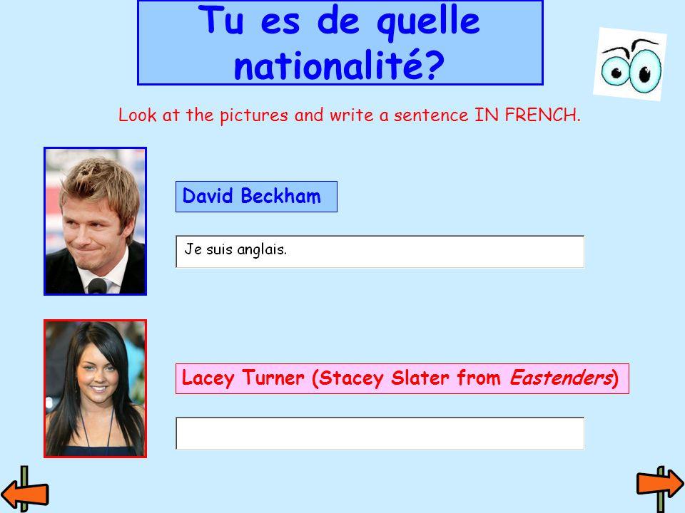 Je suis français Je suis française Tu es de quelle nationalité.