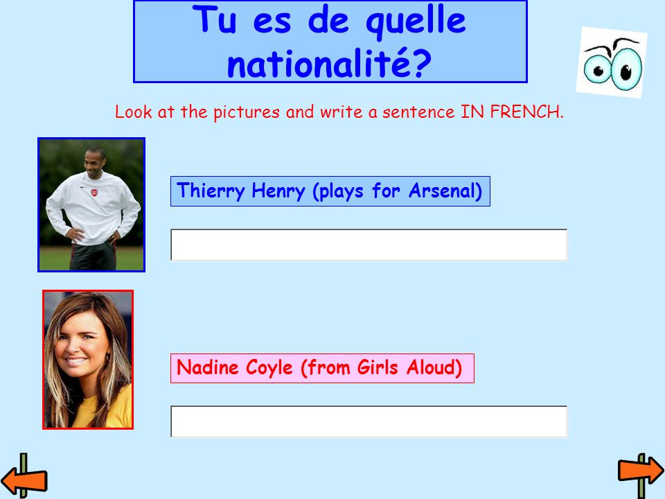 Tu es de quelle nationalité. Look at the pictures and write a sentence IN FRENCH.