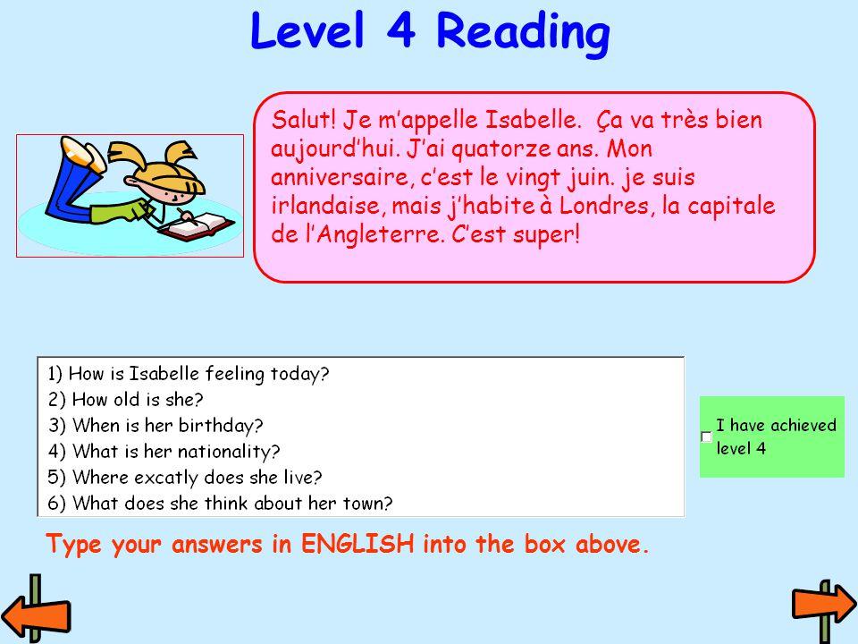 Level 3 Reading Bonjour. Je m'appelle Luc. J'ai douze ans.
