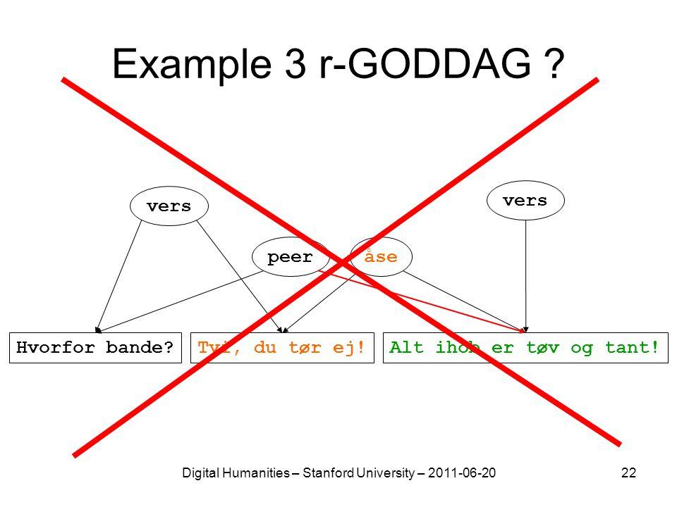 Digital Humanities – Stanford University – 2011-06-2022 Example 3 r-GODDAG ? vers peeråse Alt ihob er tøv og tant!Hvorfor bande?Tvi, du tør ej!