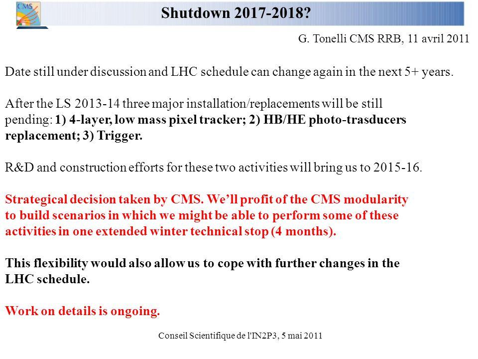Conseil Scientifique de l IN2P3, 5 mai 2011 Shutdown 2017-2018.