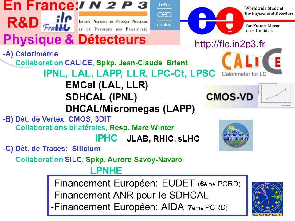Conseil Scientifique de l IN2P3, 5 mai 2011 En France: R&D Physique & Détecteurs -A) Calorimétrie Collaboration CALICE, Spkp.