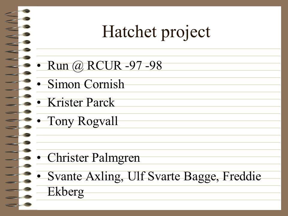 Hatchet project Run @ RCUR -97 -98 Simon Cornish Krister Parck Tony Rogvall Christer Palmgren Svante Axling, Ulf Svarte Bagge, Freddie Ekberg
