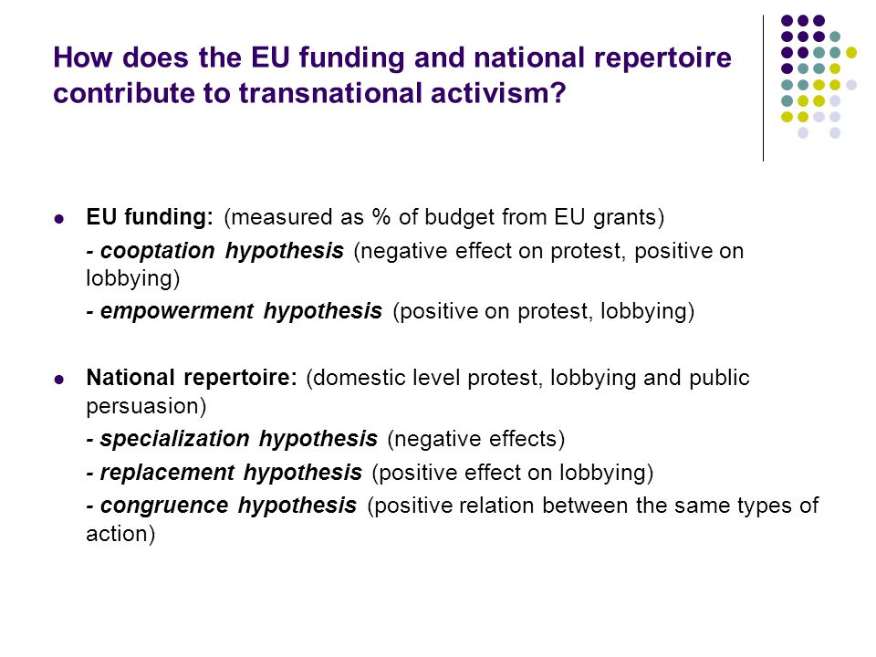How does the EU funding and national repertoire contribute to transnational activism.