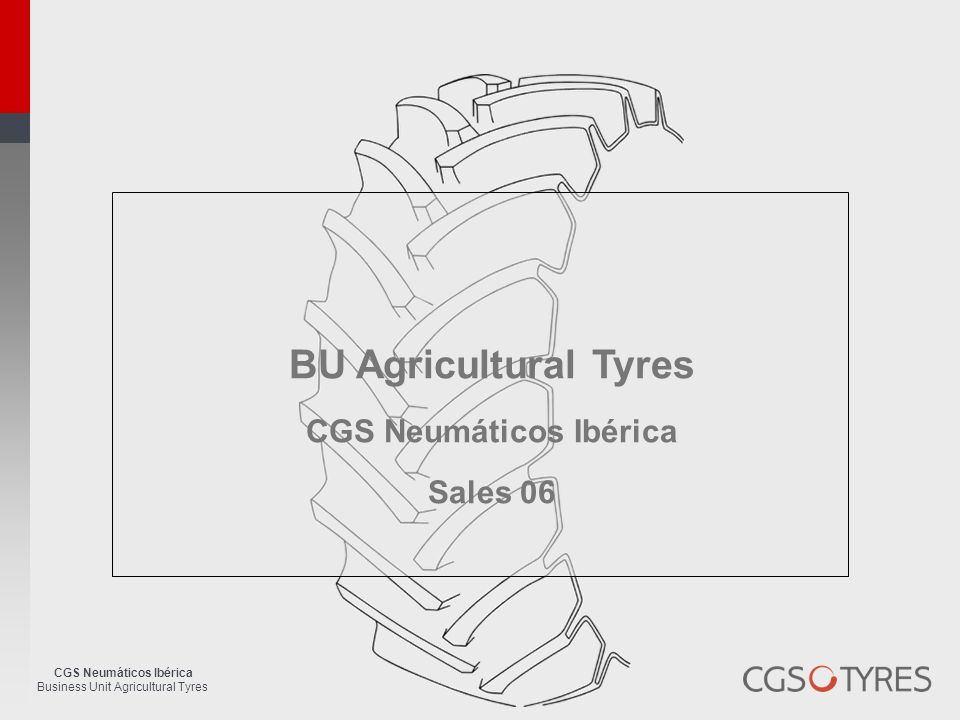 CGS Neumáticos Ibérica Business Unit Agricultural Tyres BU Agricultural Tyres CGS Neumáticos Ibérica Sales 06