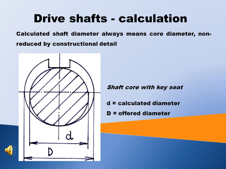 DRIVE SHAFTS - CALCULATION Due to σ and τ are perpendicular to one another, it is not possible to add their values together.