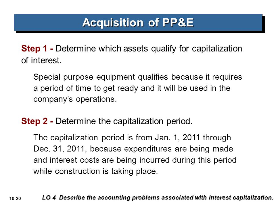 10-20 Step 1 - Determine which assets qualify for capitalization of interest. Special purpose equipment qualifies because it requires a period of time