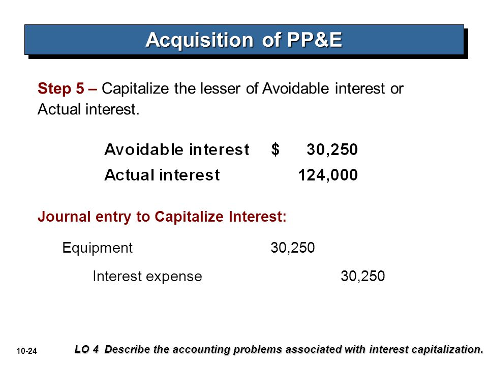 10-24 Step 5 – Capitalize the lesser of Avoidable interest or Actual interest. Acquisition of PP&E LO 4 Describe the accounting problems associated wi