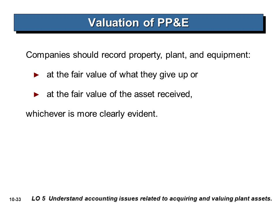 10-33 Companies should record property, plant, and equipment: ► at the fair value of what they give up or ► at the fair value of the asset received, w