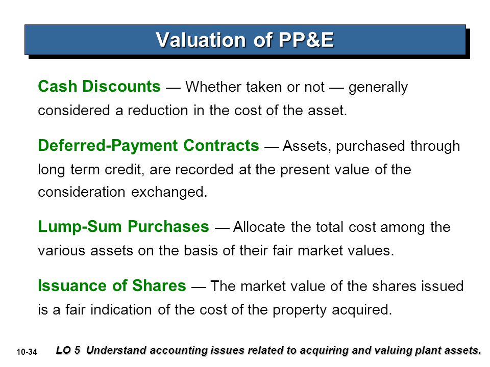 10-34 Cash Discounts — Whether taken or not — generally considered a reduction in the cost of the asset. Deferred-Payment Contracts — Assets, purchase