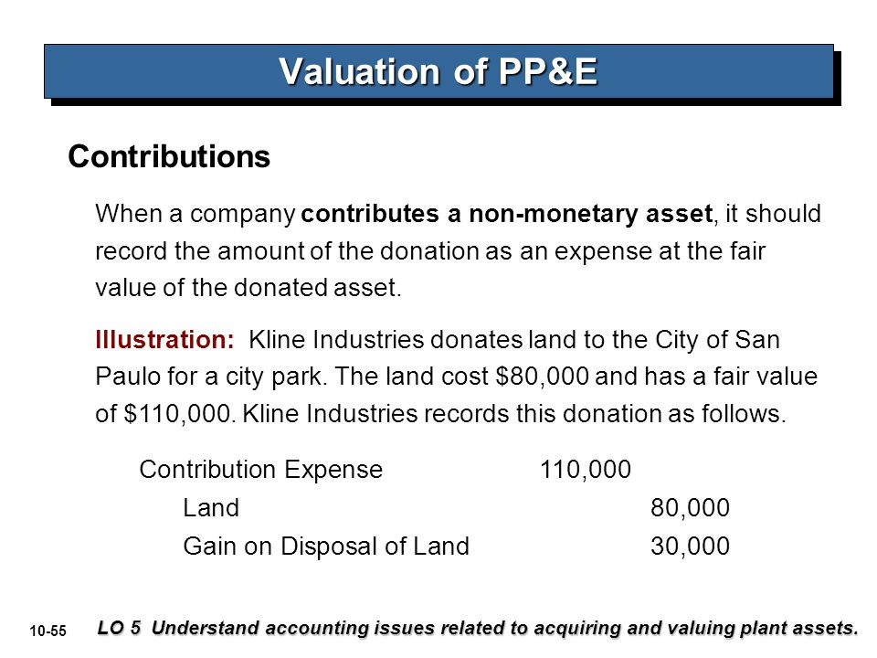 10-55 Valuation of PP&E LO 5 Understand accounting issues related to acquiring and valuing plant assets. When a company contributes a non-monetary ass