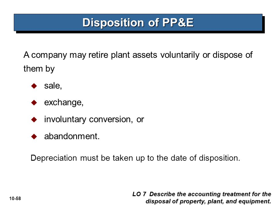 10-58 Disposition of PP&E LO 7 Describe the accounting treatment for the disposal of property, plant, and equipment. A company may retire plant assets