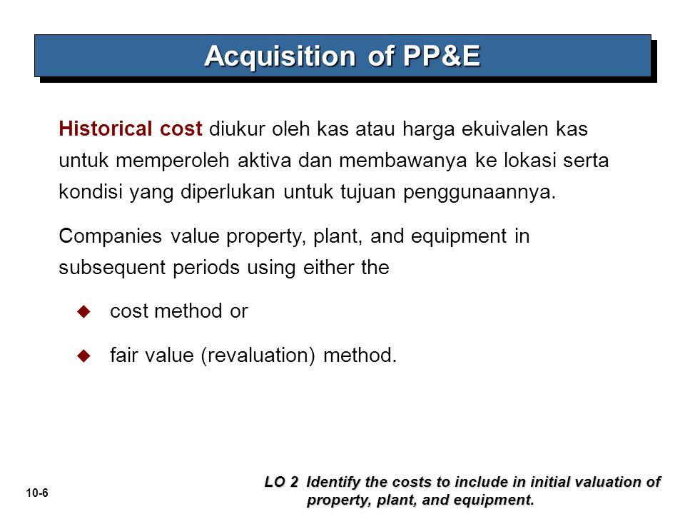 10-6 Historical cost diukur oleh kas atau harga ekuivalen kas untuk memperoleh aktiva dan membawanya ke lokasi serta kondisi yang diperlukan untuk tuj