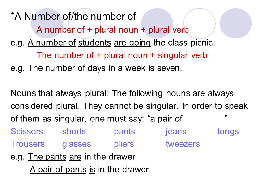 *A Number of/the number of A number of + plural noun + plural verb e.g.