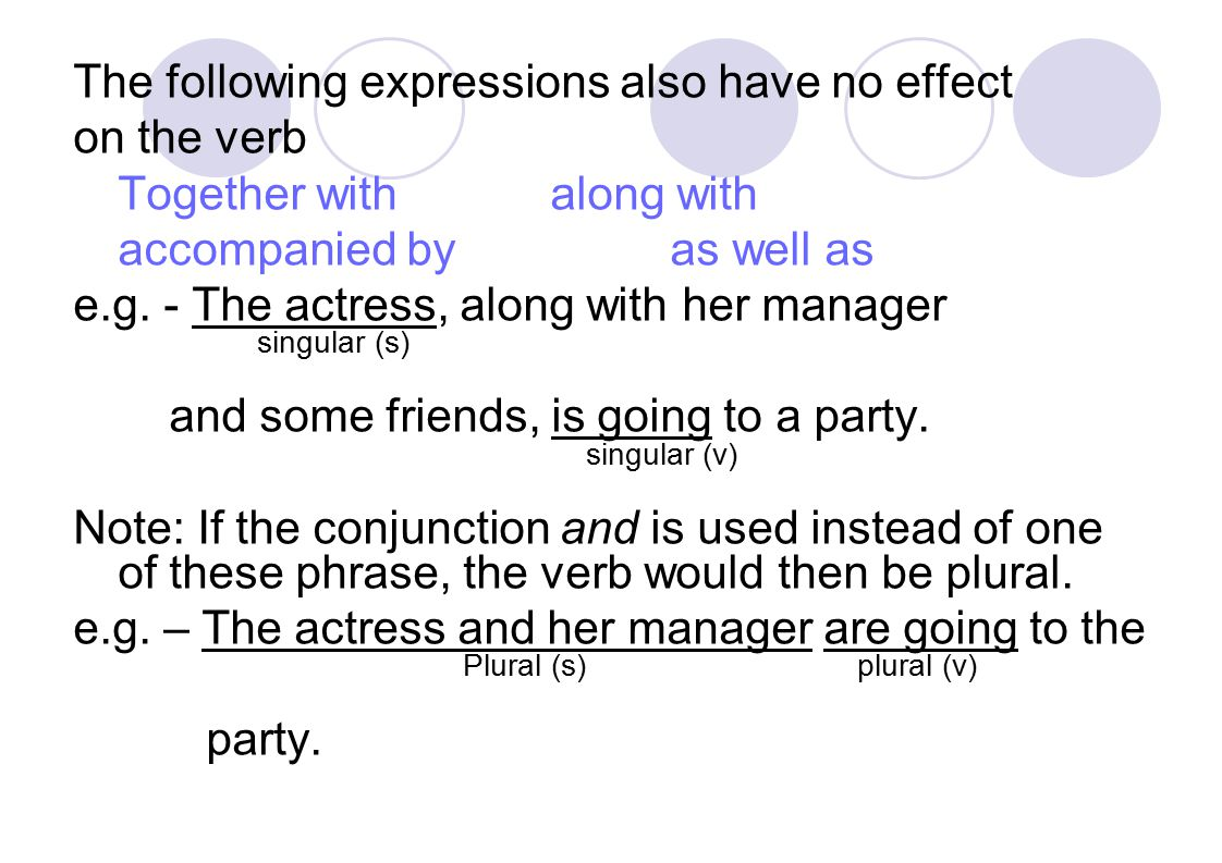 The following expressions also have no effect on the verb Together withalong with accompanied byas well as e.g.