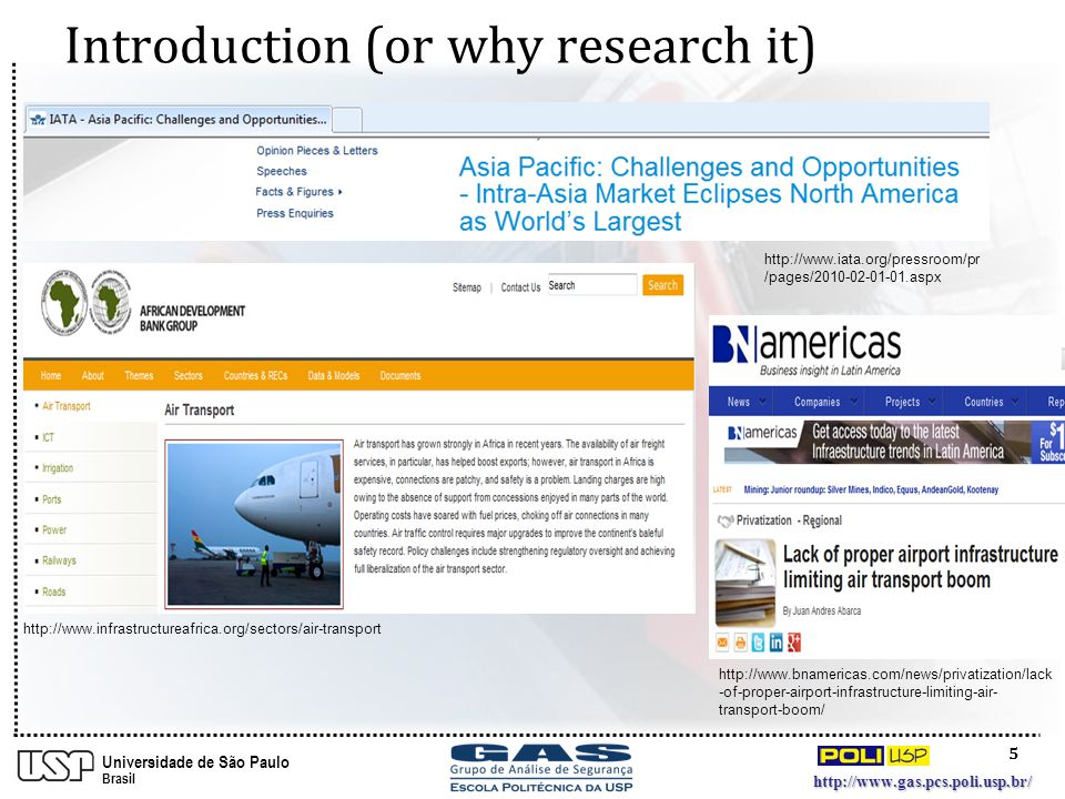 5 http://www.gas.pcs.poli.usp.br/ Universidade de São Paulo Brasil Introduction (or why research it) http://www.iata.org/pressroom/pr /pages/2010-02-01-01.aspx http://www.bnamericas.com/news/privatization/lack -of-proper-airport-infrastructure-limiting-air- transport-boom/ http://www.infrastructureafrica.org/sectors/air-transport