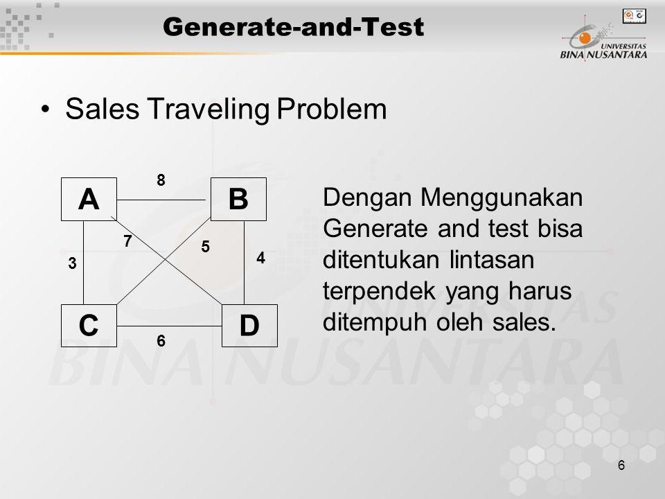 6 Generate-and-Test Sales Traveling Problem Dengan Menggunakan Generate and test bisa ditentukan lintasan terpendek yang harus ditempuh oleh sales. A