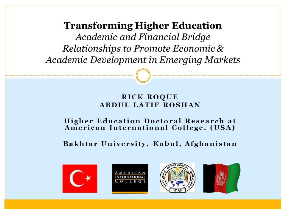 Many Accomplishments: 22 Successes First Afghan University to admit women State of the Art Internet Conference Ctr Founder of Accountants and Auditors Association Founder of Distance Education in Afghanistan Founder of ACCA in Afghanistan Founder of first Private University in Afghanistan International Projects: World Bank Funded Projects (ATP) Train 2500 government employees 150 MPs studied Law Asian Foundation Project Ministry of Defense Project British Council Project Etc.