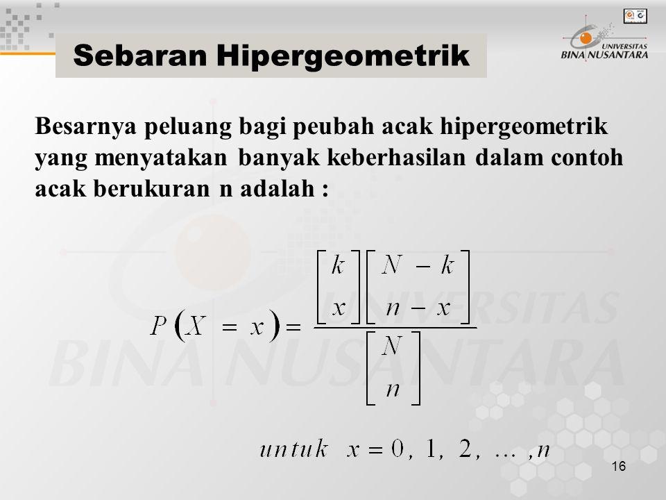 16 Sebaran Hipergeometrik Besarnya peluang bagi peubah acak hipergeometrik yang menyatakan banyak keberhasilan dalam contoh acak berukuran n adalah :