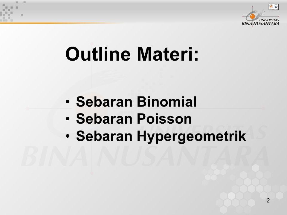 2 Outline Materi: Sebaran Binomial Sebaran Poisson Sebaran Hypergeometrik