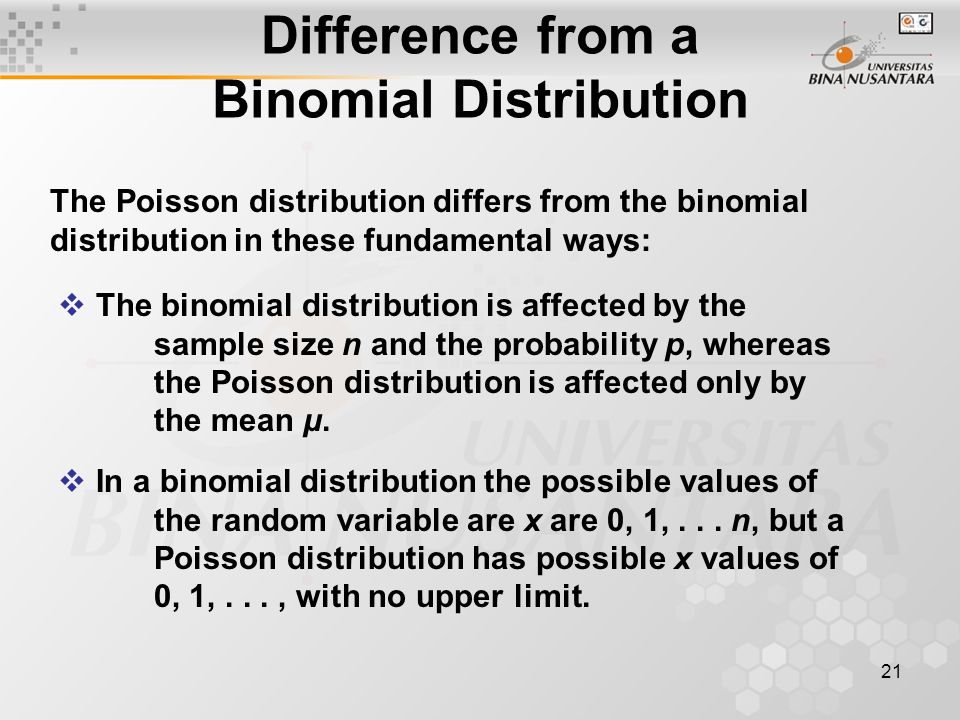 21 Difference from a Binomial Distribution The Poisson distribution differs from the binomial distribution in these fundamental ways:  The binomial distribution is affected by the sample size n and the probability p, whereas the Poisson distribution is affected only by the mean μ.