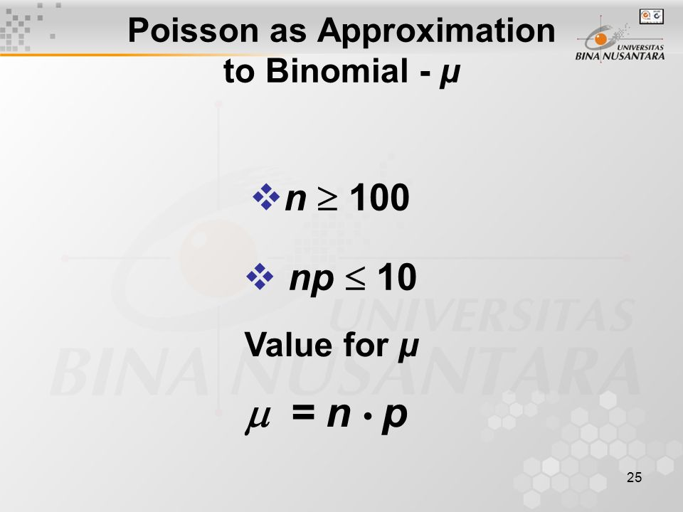 25 Poisson as Approximation to Binomial - μ Value for μ  = n p  n  100  np  10