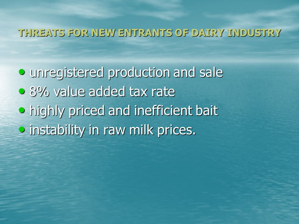 CONDUCT of FIRMS in DAIRY INDUSTRY A.PRICING POLICY B.