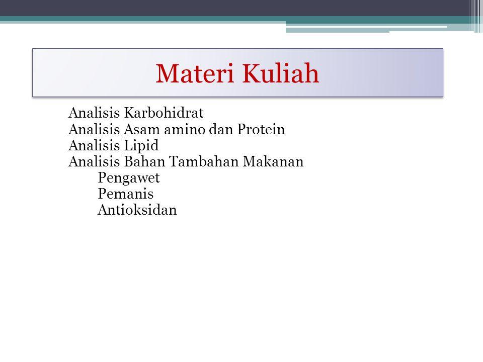 Materi Kuliah Analisis Karbohidrat Analisis Asam amino dan Protein Analisis Lipid Analisis Bahan Tambahan Makanan Pengawet Pemanis Antioksidan