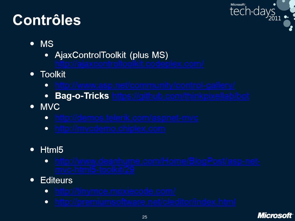 25 Contrôles MS AjaxControlToolkit (plus MS) http://ajaxcontroltoolkit.codeplex.com/ http://ajaxcontroltoolkit.codeplex.com/ Toolkit http://www.asp.ne