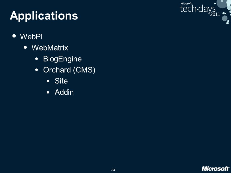 34 Applications WebPI WebMatrix BlogEngine Orchard (CMS) Site Addin