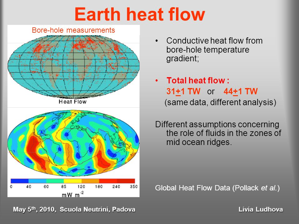 Earth heat flow Conductive heat flow from bore-hole temperature gradient; Total heat flow : 31+1 TW or 44+1 TW (same data, different analysis) Differe