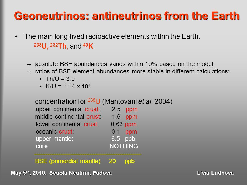 Geoneutrinos: antineutrinos from the Earth The main long-lived radioactive elements within the Earth: 238 U, 232 Th, and 40 K –absolute BSE abundances
