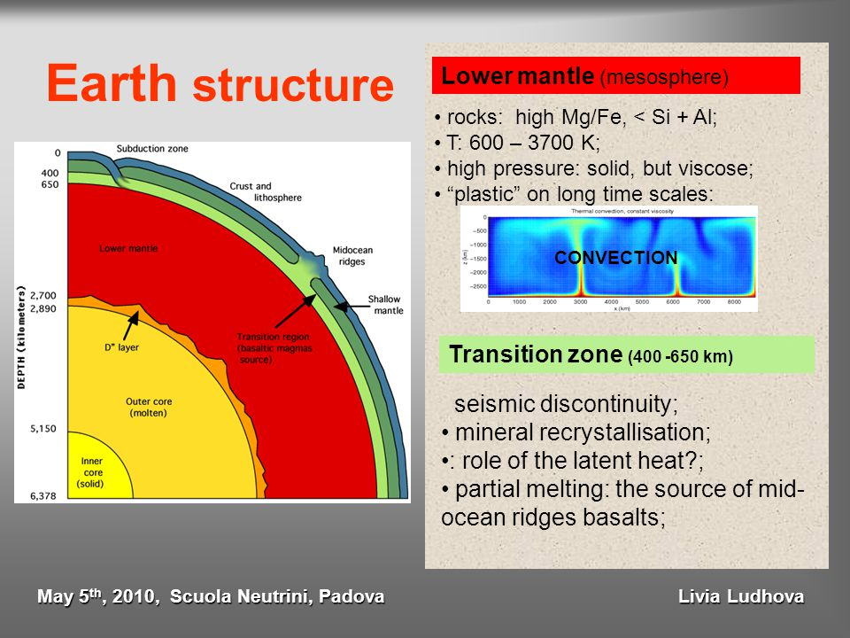 "Earth structure Lower mantle (mesosphere) rocks: high Mg/Fe, < Si + Al; T: 600 – 3700 K; high pressure: solid, but viscose; ""plastic"" on long time sca"