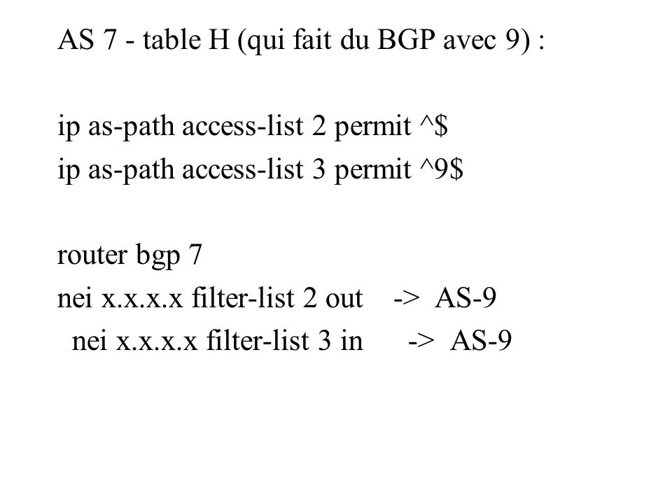 AS 7 - table H (qui fait du BGP avec 9) : ip as-path access-list 2 permit ^$ ip as-path access-list 3 permit ^9$ router bgp 7 nei x.x.x.x filter-list