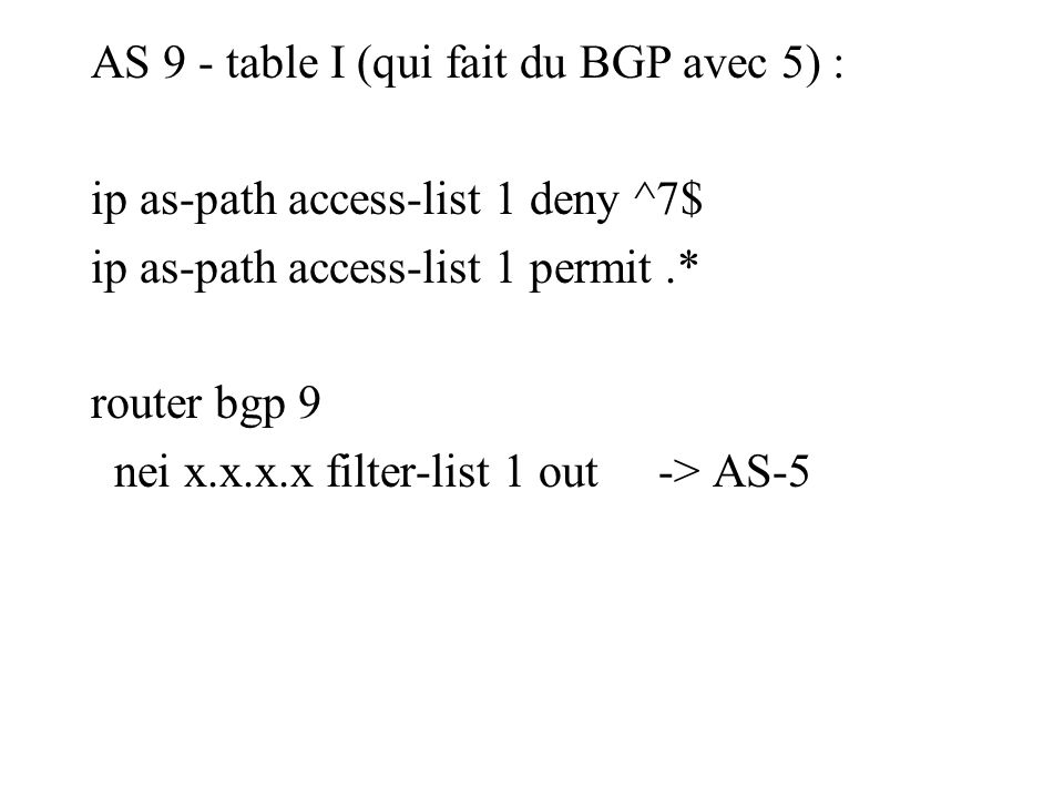 AS 9 - table I (qui fait du BGP avec 5) : ip as-path access-list 1 deny ^7$ ip as-path access-list 1 permit.* router bgp 9 nei x.x.x.x filter-list 1 out -> AS-5