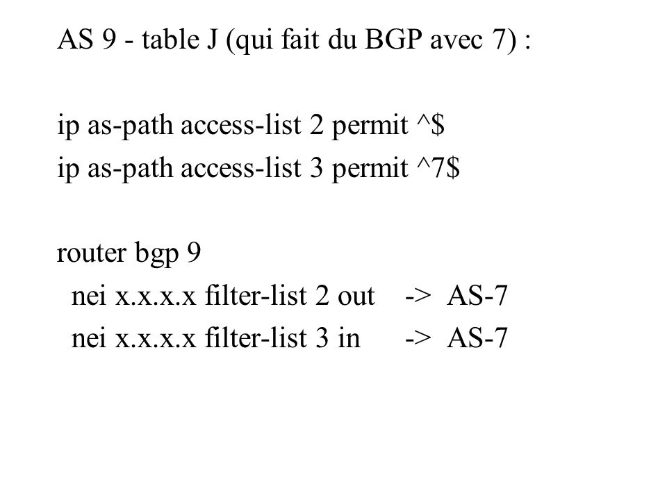 AS 9 - table J (qui fait du BGP avec 7) : ip as-path access-list 2 permit ^$ ip as-path access-list 3 permit ^7$ router bgp 9 nei x.x.x.x filter-list 2 out -> AS-7 nei x.x.x.x filter-list 3 in -> AS-7