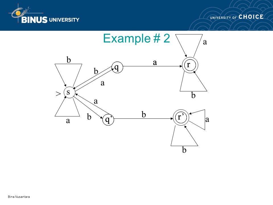 Bina Nusantara Example sq r q b r > b a b
