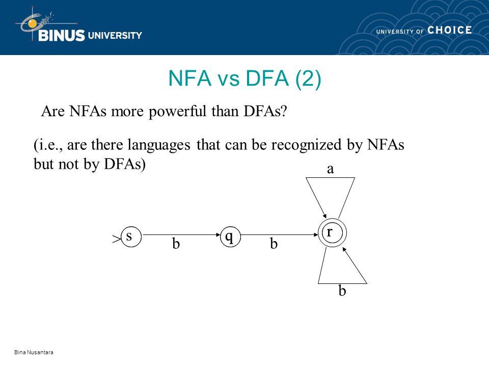 Bina Nusantara NFA vs DFA Are deterministic automata, nondeterministic.