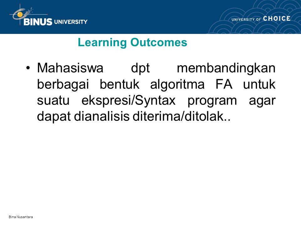 Bina Nusantara Finite Automata II (FA) Pertemuan 24: Mata kuliah:K0144/ Matematika Diskrit Tahun:2008