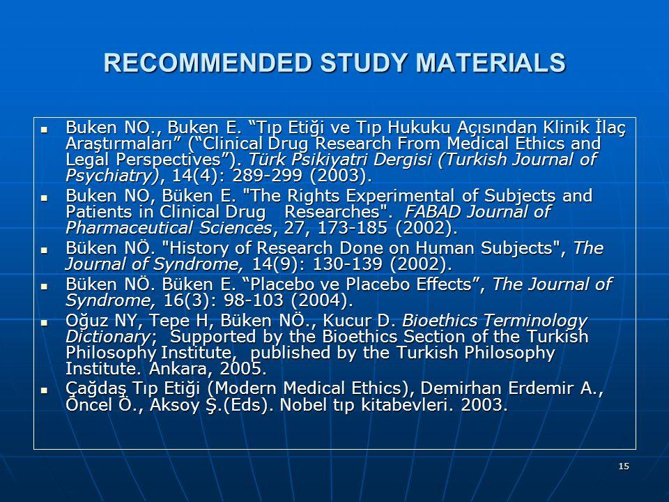 15 RECOMMENDED STUDY MATERIALS Buken NO., Buken E.