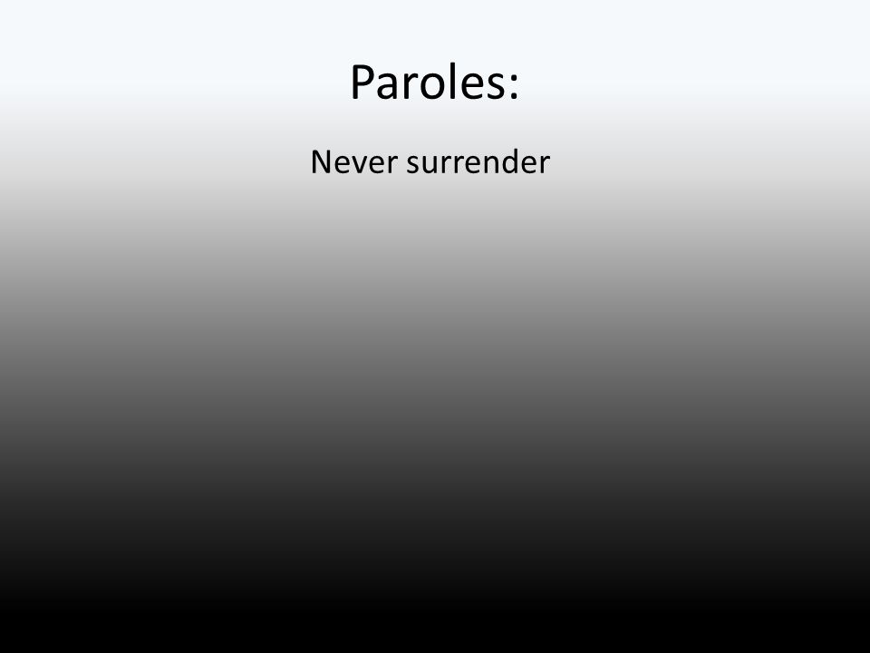 Paroles: Never surrender
