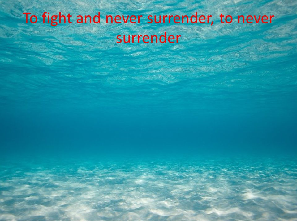 To fight and never surrender, to never surrender